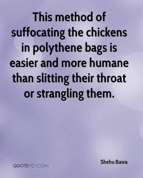 Shehu Bawa  - This method of suffocating the chickens in polythene bags is easier and more humane than slitting their throat or strangling them.
