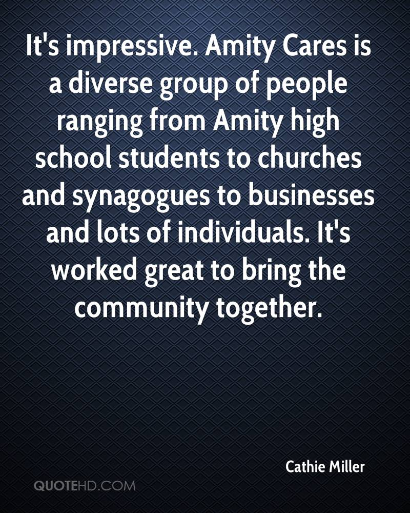 It's impressive. Amity Cares is a diverse group of people ranging from Amity high school students to churches and synagogues to businesses and lots of individuals. It's worked great to bring the community together.