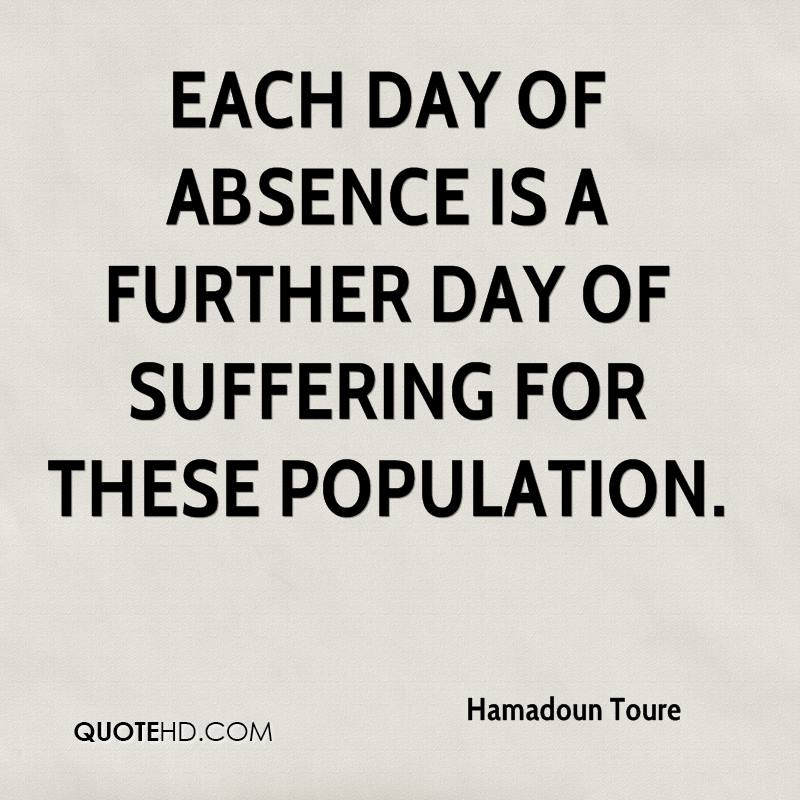 Each day of absence is a further day of suffering for these population.