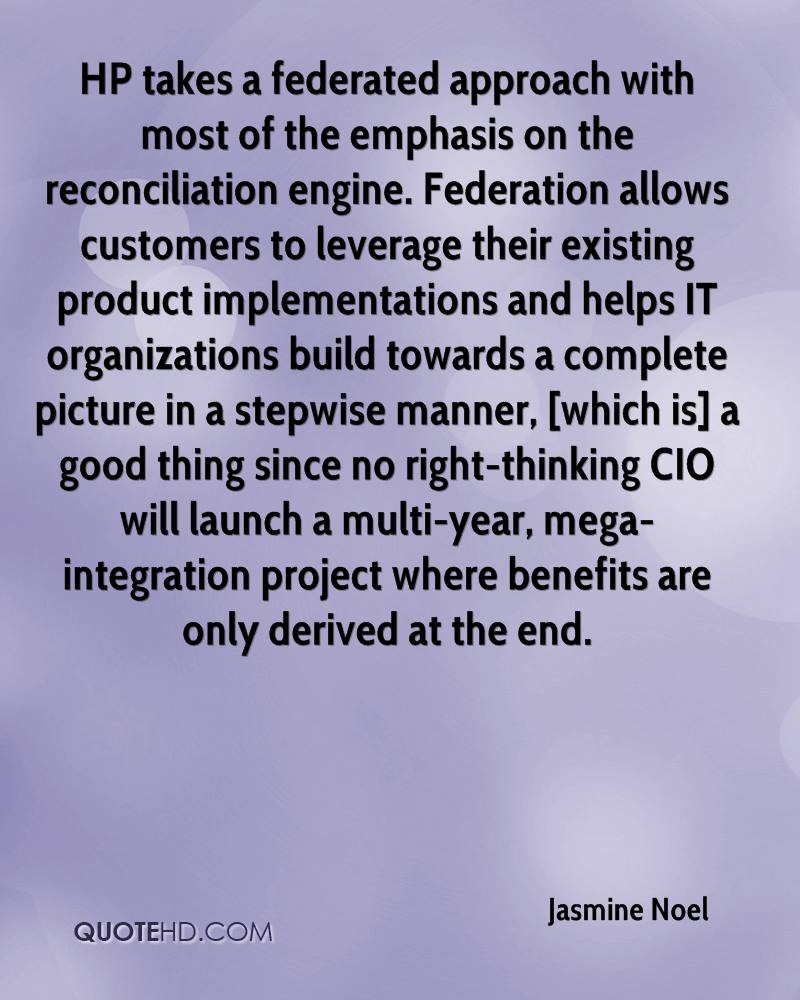 HP takes a federated approach with most of the emphasis on the reconciliation engine. Federation allows customers to leverage their existing product implementations and helps IT organizations build towards a complete picture in a stepwise manner, [which is] a good thing since no right-thinking CIO will launch a multi-year, mega-integration project where benefits are only derived at the end.