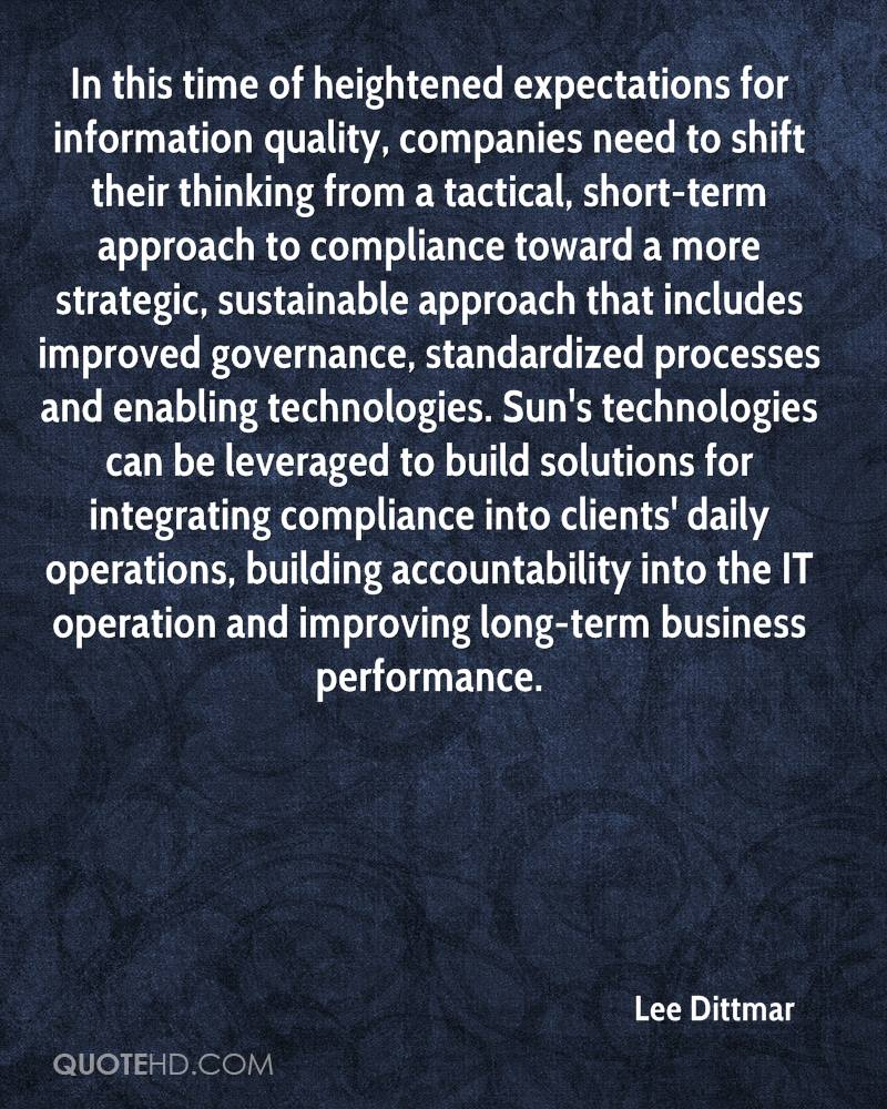 In this time of heightened expectations for information quality, companies need to shift their thinking from a tactical, short-term approach to compliance toward a more strategic, sustainable approach that includes improved governance, standardized processes and enabling technologies. Sun's technologies can be leveraged to build solutions for integrating compliance into clients' daily operations, building accountability into the IT operation and improving long-term business performance.