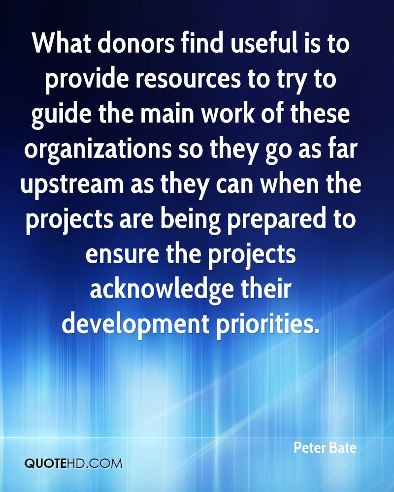 What donors find useful is to provide resources to try to guide the main work of these organizations so they go as far upstream as they can when the projects are being prepared to ensure the projects acknowledge their development priorities.
