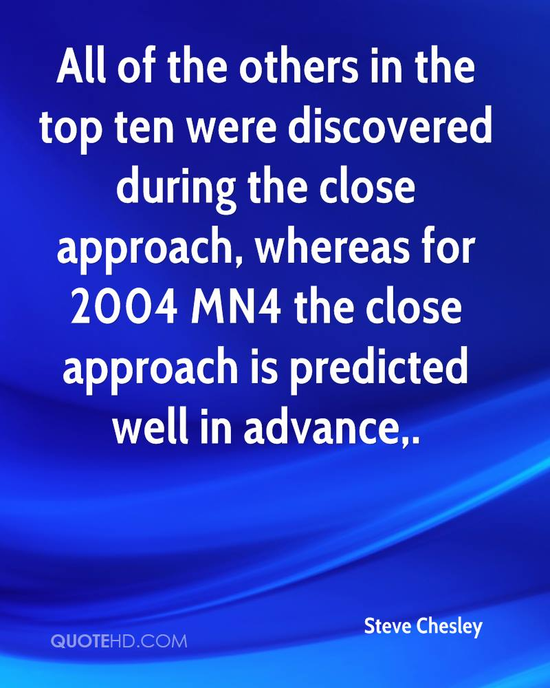 All of the others in the top ten were discovered during the close approach, whereas for 2004 MN4 the close approach is predicted well in advance.