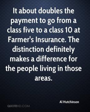 Al Hutchinson - It about doubles the payment to go from a class five to a class 10 at Farmer's Insurance. The distinction definitely makes a difference for the people living in those areas.