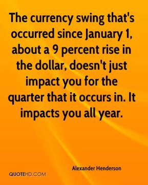 Alexander Henderson - The currency swing that's occurred since January 1, about a 9 percent rise in the dollar, doesn't just impact you for the quarter that it occurs in. It impacts you all year.