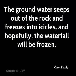 Carol Fassig - The ground water seeps out of the rock and freezes into icicles, and hopefully, the waterfall will be frozen.