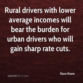 Dave Kranz - Rural drivers with lower average incomes will bear the burden for urban drivers who will gain sharp rate cuts.