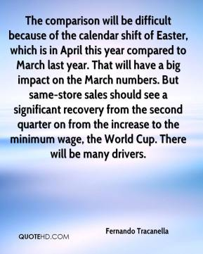 Fernando Tracanella - The comparison will be difficult because of the calendar shift of Easter, which is in April this year compared to March last year. That will have a big impact on the March numbers. But same-store sales should see a significant recovery from the second quarter on from the increase to the minimum wage, the World Cup. There will be many drivers.
