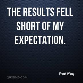 Frank Wang - The results fell short of my expectation.