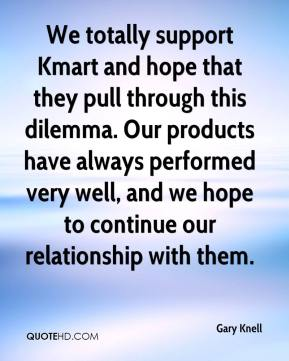 Gary Knell - We totally support Kmart and hope that they pull through this dilemma. Our products have always performed very well, and we hope to continue our relationship with them.