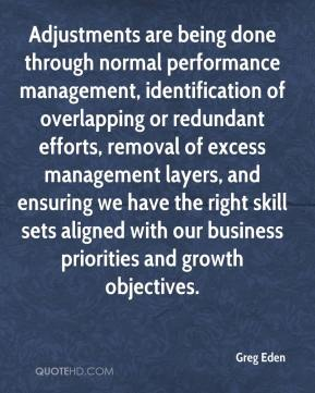 Greg Eden - Adjustments are being done through normal performance management, identification of overlapping or redundant efforts, removal of excess management layers, and ensuring we have the right skill sets aligned with our business priorities and growth objectives.