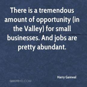 There is a tremendous amount of opportunity (in the Valley) for small businesses. And jobs are pretty abundant.