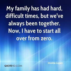 Imelda Lopez - My family has had hard, difficult times, but we've always been together. Now, I have to start all over from zero.