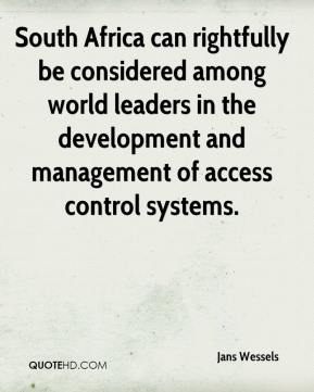 Jans Wessels  - South Africa can rightfully be considered among world leaders in the development and management of access control systems.