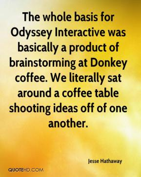 Jesse Hathaway  - The whole basis for Odyssey Interactive was basically a product of brainstorming at Donkey coffee. We literally sat around a coffee table shooting ideas off of one another.