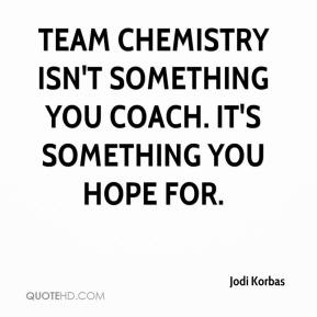 Jodi Korbas  - Team chemistry isn't something you coach. It's something you hope for.