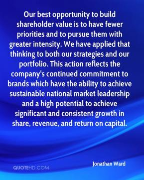 Jonathan Ward  - Our best opportunity to build shareholder value is to have fewer priorities and to pursue them with greater intensity. We have applied that thinking to both our strategies and our portfolio. This action reflects the company's continued commitment to brands which have the ability to achieve sustainable national market leadership and a high potential to achieve significant and consistent growth in share, revenue, and return on capital.