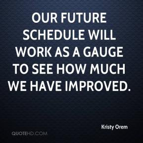 Kristy Orem  - Our future schedule will work as a gauge to see how much we have improved.