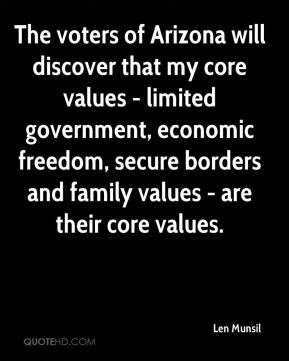Len Munsil  - The voters of Arizona will discover that my core values - limited government, economic freedom, secure borders and family values - are their core values.