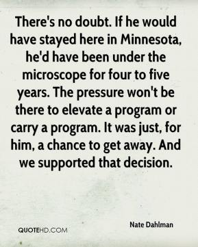 Nate Dahlman  - There's no doubt. If he would have stayed here in Minnesota, he'd have been under the microscope for four to five years. The pressure won't be there to elevate a program or carry a program. It was just, for him, a chance to get away. And we supported that decision.