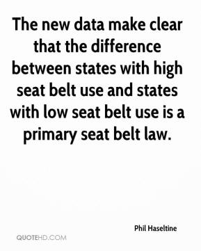 Phil Haseltine  - The new data make clear that the difference between states with high seat belt use and states with low seat belt use is a primary seat belt law.