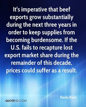 Randy Blach  - It's imperative that beef exports grow substantially during the next three years in order to keep supplies from becoming burdensome. If the U.S. fails to recapture lost export market share during the remainder of this decade, prices could suffer as a result.