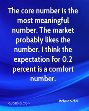 Richard Sichel  - The core number is the most meaningful number. The market probably likes the number. I think the expectation for 0.2 percent is a comfort number.