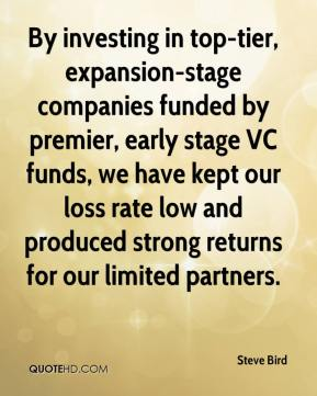 Steve Bird  - By investing in top-tier, expansion-stage companies funded by premier, early stage VC funds, we have kept our loss rate low and produced strong returns for our limited partners.