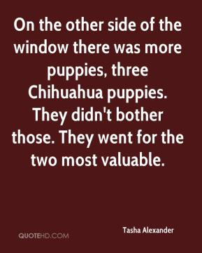Tasha Alexander  - On the other side of the window there was more puppies, three Chihuahua puppies. They didn't bother those. They went for the two most valuable.