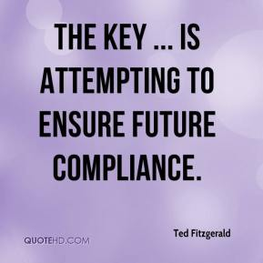 Ted Fitzgerald  - The key ... is attempting to ensure future compliance.