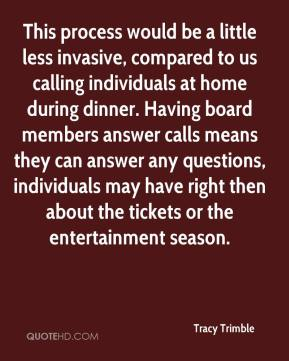 Tracy Trimble  - This process would be a little less invasive, compared to us calling individuals at home during dinner. Having board members answer calls means they can answer any questions, individuals may have right then about the tickets or the entertainment season.