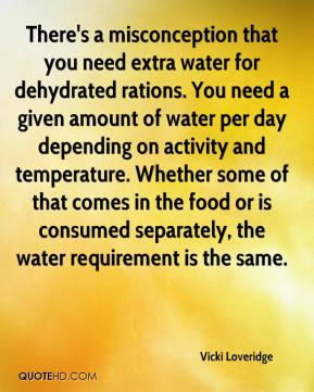 Vicki Loveridge  - There's a misconception that you need extra water for dehydrated rations. You need a given amount of water per day depending on activity and temperature. Whether some of that comes in the food or is consumed separately, the water requirement is the same.