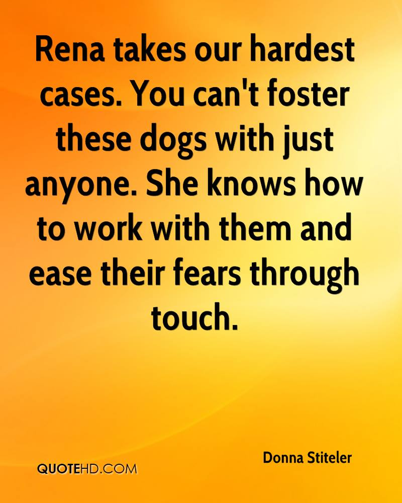 Rena takes our hardest cases. You can't foster these dogs with just anyone. She knows how to work with them and ease their fears through touch.