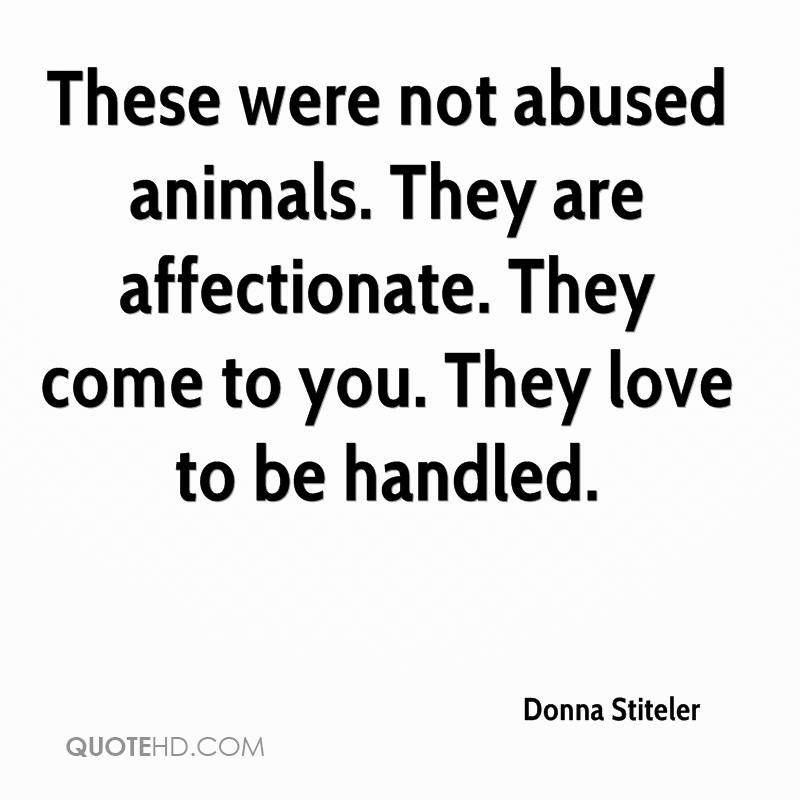 These were not abused animals. They are affectionate. They come to you. They love to be handled.