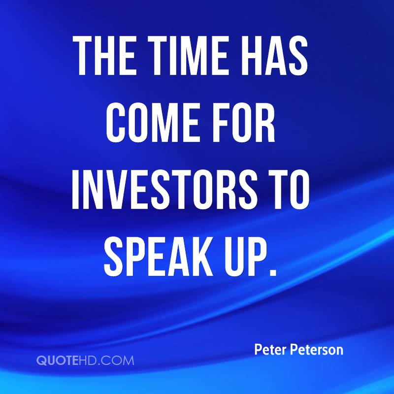 The time has come for investors to speak up.