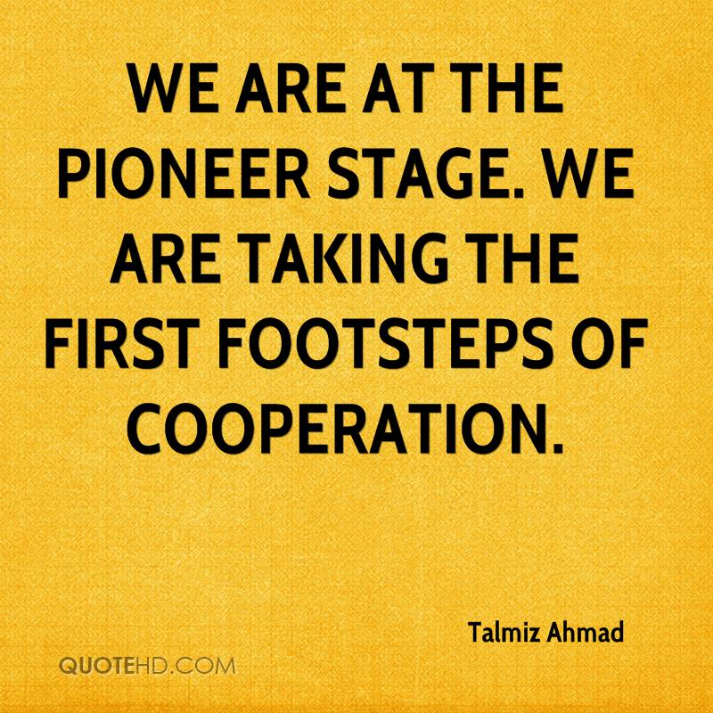 We are at the pioneer stage. We are taking the first footsteps of cooperation.