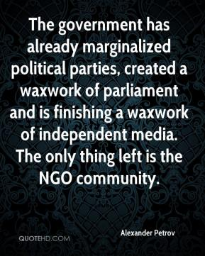 Alexander Petrov - The government has already marginalized political parties, created a waxwork of parliament and is finishing a waxwork of independent media. The only thing left is the NGO community.
