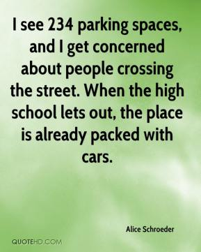 Alice Schroeder - I see 234 parking spaces, and I get concerned about people crossing the street. When the high school lets out, the place is already packed with cars.