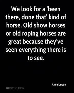 Anne Larson - We look for a 'been there, done that' kind of horse. Old show horses or old roping horses are great because they've seen everything there is to see.