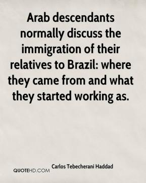 Carlos Tebecherani Haddad - Arab descendants normally discuss the immigration of their relatives to Brazil: where they came from and what they started working as.