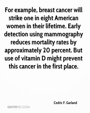 Cedric F. Garland - For example, breast cancer will strike one in eight American women in their lifetime. Early detection using mammography reduces mortality rates by approximately 20 percent. But use of vitamin D might prevent this cancer in the first place.
