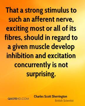 Charles Scott Sherrington - That a strong stimulus to such an afferent nerve, exciting most or all of its fibres, should in regard to a given muscle develop inhibition and excitation concurrently is not surprising.
