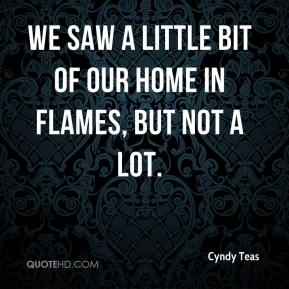 Cyndy Teas - We saw a little bit of our home in flames, but not a lot.