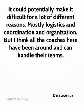 Dana Levenson - It could potentially make it difficult for a lot of different reasons. Mostly logistics and coordination and organization. But I think all the coaches here have been around and can handle their teams.