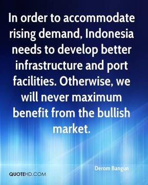 In order to accommodate rising demand, Indonesia needs to develop better infrastructure and port facilities. Otherwise, we will never maximum benefit from the bullish market.