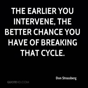 Don Strassberg - The earlier you intervene, the better chance you have of breaking that cycle.