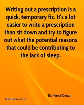Dr. Naresh Dewan - Writing out a prescription is a quick, temporary fix. It's a lot easier to write a prescription than sit down and try to figure out what the potential reasons that could be contributing to the lack of sleep.