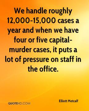 Elliott Metcalf - We handle roughly 12,000-15,000 cases a year and when we have four or five capital-murder cases, it puts a lot of pressure on staff in the office.