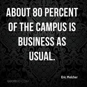 Eric Melcher - About 80 percent of the campus is business as usual.