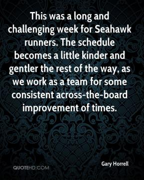Gary Horrell - This was a long and challenging week for Seahawk runners. The schedule becomes a little kinder and gentler the rest of the way, as we work as a team for some consistent across-the-board improvement of times.